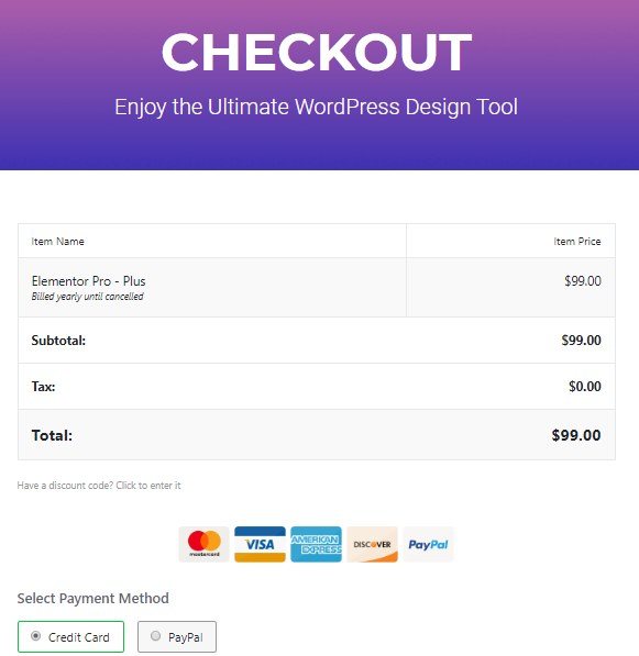 Ultimate WordPress Design Tool Elementor Payment