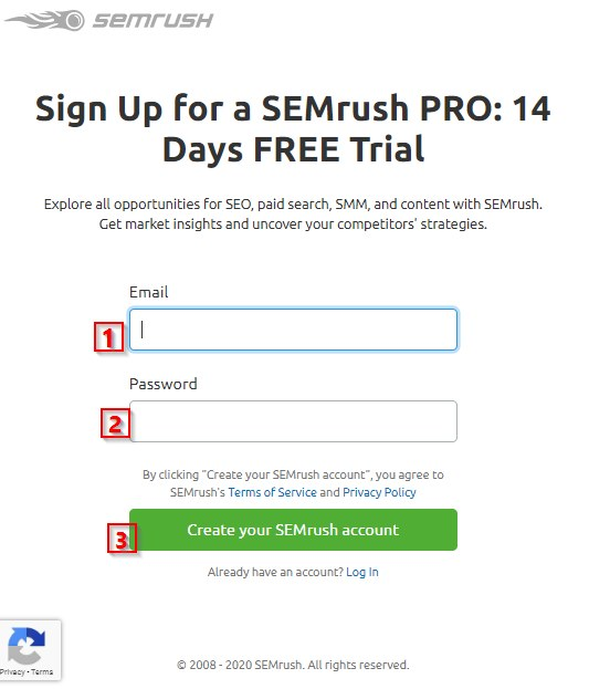 create your semrush account